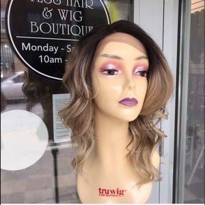 Accessories - Ash Blonde Ombré asymmetrical bob lacefront Wig